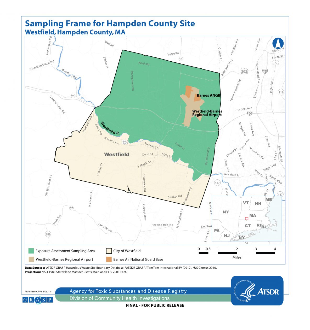 The map shows the sampling area where the exposure assessment will occur. It focuses on an area where residential tap water PFOA and/or PFOS concentrations were above federal or state guidelines.  The boundary of this area represents Westfield residents who live north of the Westfield River and receive water from the Westfield Water Department. The map also shows the location of the Barnes Air National Guard Base.
