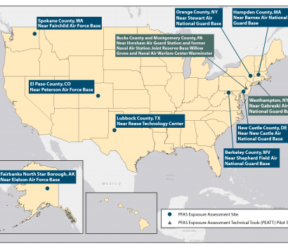 Map of the United States indicating the names and locations of the PFAS exposure assessment projects. The exposure assessment projects names and locations are the following: Hampden County, MA near Barnes Air National Guard Base, Berkeley County, WV near Shepherd Field Air National Guard Base, El Paso County, CO, near Peterson Air Force Base, Fairbanks North Star Borough, AK near Eielson Air Force Base, Lubbock County, TX near Reese Technology Center, Orange County, NY near Stewart Air National Guard Base, New Castle County, DE, near New Castle Air National Guard Base, and Spokane County, WA near Fairchild Air Force Base. In addition, there are two PFAS exposure assessment technical tool pilot sites. These are the Montgomery and Bucks County, PA near Horsham Air Guard Station and former Naval Air Station Joint Reserve Willow Grove and Naval Warfare Center Warminster, and the West Hampton New York near Gabreski Air National Guard Base.