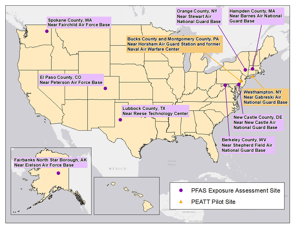 PFAS Exposure Assessment Sites Map