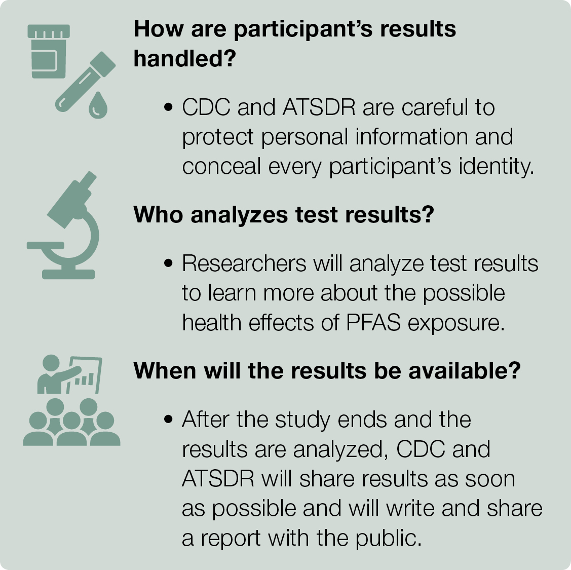 Text box describes how the participants' results are handled, who analyzes the tests, and when the results will be available.