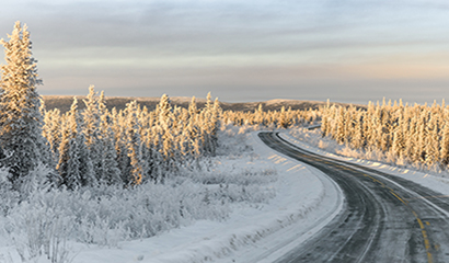 Snowy Winter Road Panorama in Fairbanks North Star Borough, Alaska