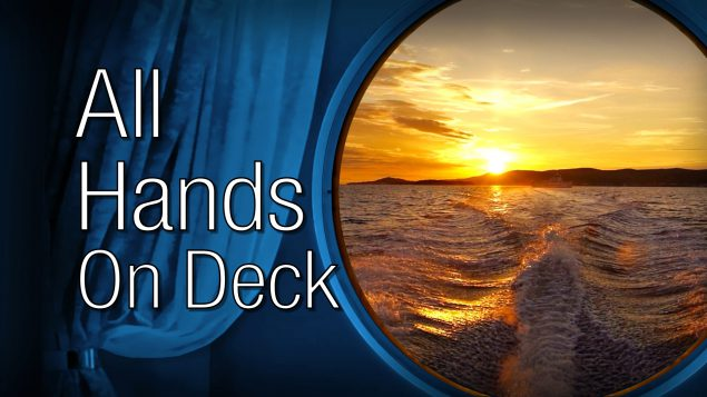 All Hands on Deck text over ocean.