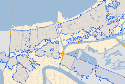 Map of New Orleans combining each analysis to show the flooding area, Katrina-related drownings.