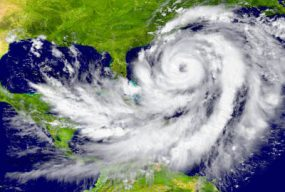 Satellite image of a hurricane swirling off the coast of the southeastern United States.