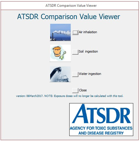ATSDR comparison Value viewer