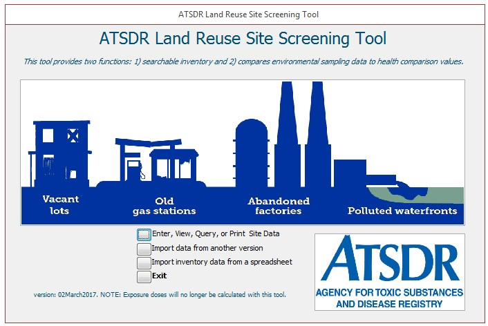 ATSDR Land Resue site screeing tool