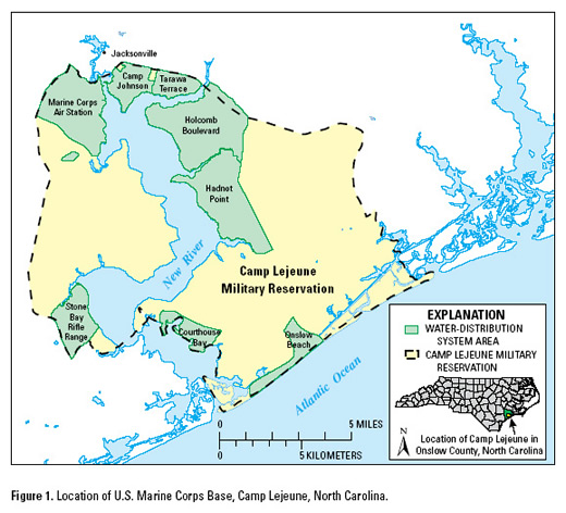 Location  of US MArine Corp Base, Camp Lejeune, NC