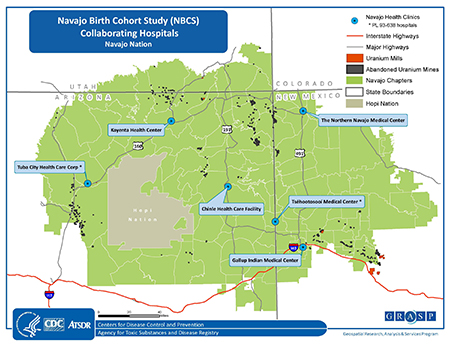 The Navajo Nation Map of Study Clinics
