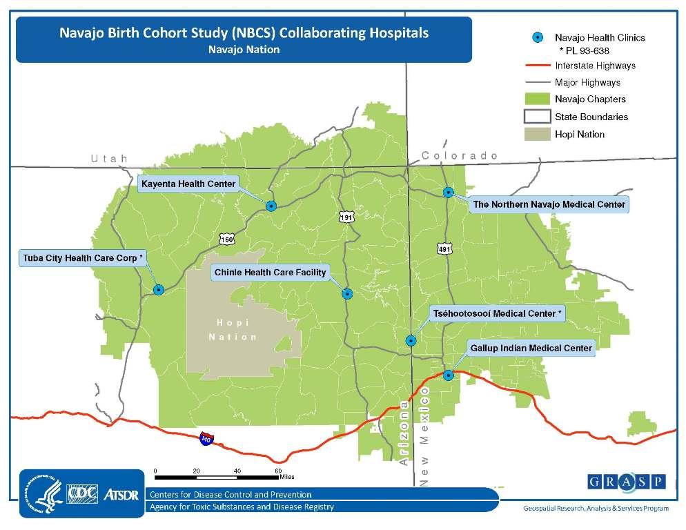 Navajo Reservation Arizona Map.About Navajo Nation Navajo Birth Cohort Study Atsdr